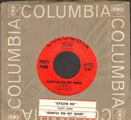 Page, Patti - Gentle On My Mind/Excuse Me (MINT condition with Columbia company sleeve and juke box label) - M10/ - 45 rpm Records
