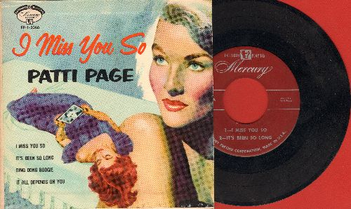 Page, Patti - I Miss You So/It's Been So Long/Ding Dong Boogie/It All Depends On You (vinyl EP record with picture cover) - NM9/NM9 - 45 rpm Records