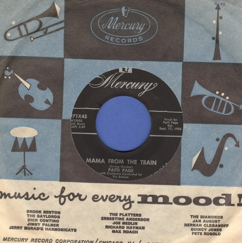 Page, Patti - Mama From The Train/Every Time I Feel His Spirit (burgundy label first pressing with vintage Mercury company sleeve) - NM9/ - 45 rpm Records