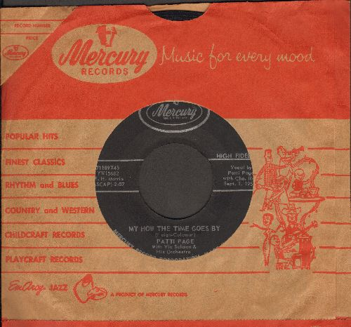 Page, Patti - My How The Time Goes By/I'll Remember Today (black label with vintage Mercury company sleeve) - NM9/ - 45 rpm Records