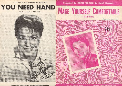 Gorme, Eydie - Make Yourself Comfortable/You Need Hands - 2 Vintage pieces of SHEET MUSIC for songs recorded by Eydie Gorme. - VG7/ - Sheet Music