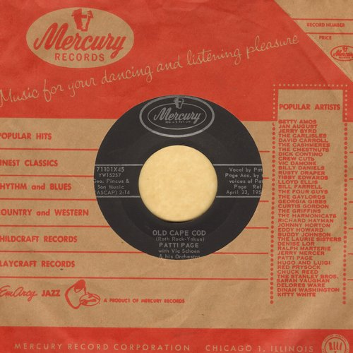 Page, Patti - Old Cape Cod/Wondering (with vintage Mercury company sleeve) - EX8/ - 45 rpm Records