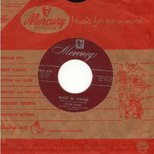 Page, Patti - Once In Awhile/I'm Glad You're Happy With Someone Else (with Mercury company sleeve) - EX8/ - 45 rpm Records