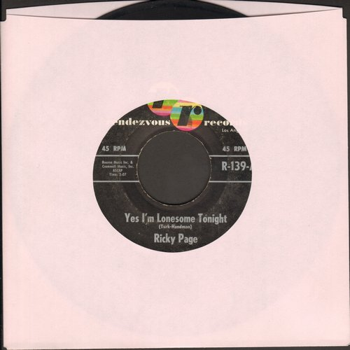 Page, Ricky - Yes, I'm Lonesome Tonight (RARE answer to Elvis Presley Hit -Are You Lonesome Tonight-)/Standing On A Mountain Top - EX8/ - 45 rpm Records