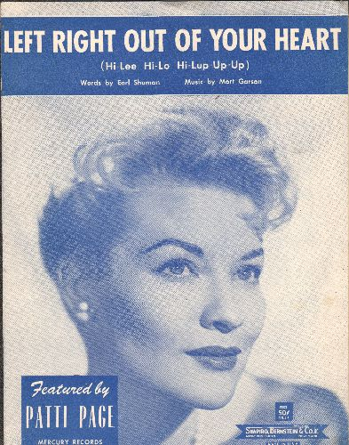 Page, Patti - Left Right Out Of My Heart - Vintage SHEET MUSIC, beautiful cover portrait of singer Patti Page! - EX8/ - Sheet Music