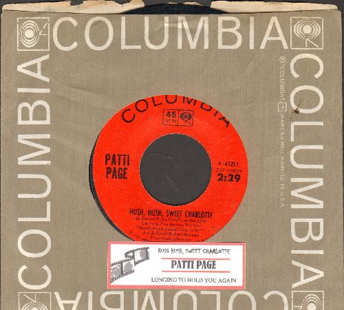 Page, Patti - Hush, Hush, Sweet Charlotte/Longing To Hold You Again (with juke box label Columbia company sleeve) - EX8/ - 45 rpm Records