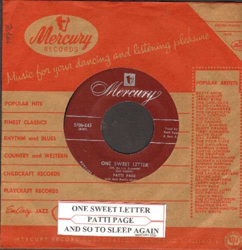 Page, Patti - One Sweet Letter/And So To Sleep Again (with juke box label and vintage Mercury company sleeve) - NM9/ - 45 rpm Records