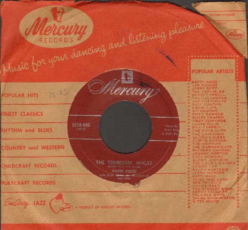 Page, Patti - Tennessee Waltz/Long Long Ago (burgundy label with vintage Mercury company sleeve) - VG7/ - 45 rpm Records