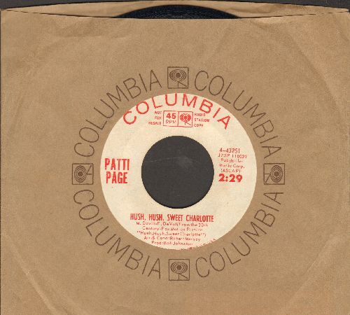 Page, Patti - Hush, Hush, Sweet Charlotte/Longing To Hold You Again (DJ advance pressing with Columbia company sleeve) - NM9/ - 45 rpm Records