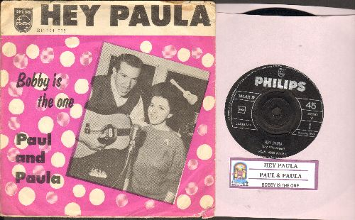 Paul & Paula - Hey Paula/Bobby Is The One (Swedish Pressing with juke box label and picture sleeve) - EX8/VG6 - 45 rpm Records