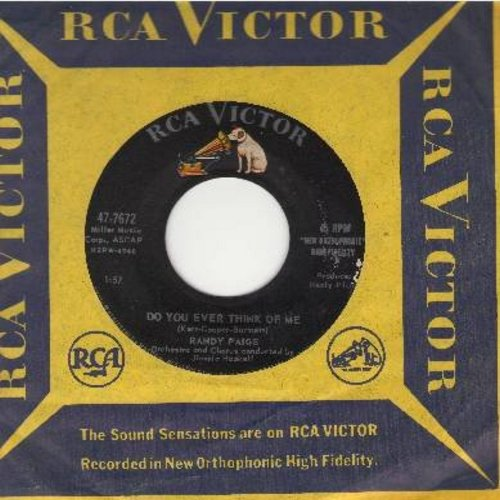 Paige, Randy - Do You Ever Think Of Me/To Cry Alone (with vintage RCA company sleeve) - EX8/ - 45 rpm Records