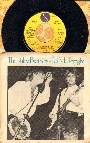 Paley Brothers - Tell Me Tonight (double-A-sided DJ advance pressing with picture sleeve) - NM9/VG7 - 45 rpm Records