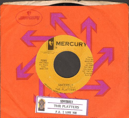 Platters - Sincerely/P. S. I Love You (DJ advance pressing withjuke box label and Mercury company sleeve) - EX8/ - 45 rpm Records