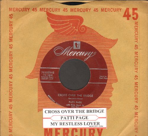 Page, Patti - Cross Over The Bridge/Johnny Guitar (with juke box label vintage Mercury company sleeve) - NM9/ - 45 rpm Records
