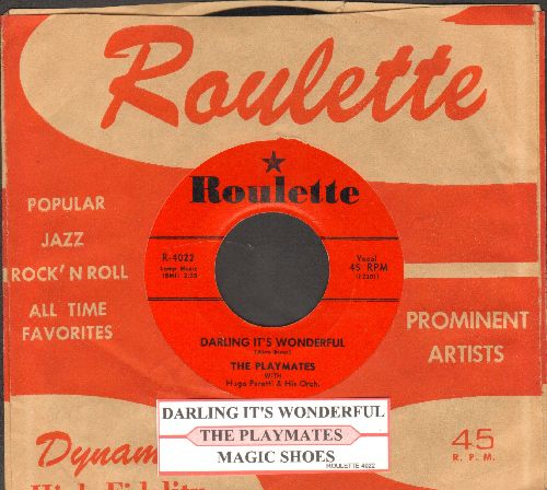 Playmates - Darling It's Wonderful/Island Girl (with juke box label and RARE vintage Roulette company sleeve) - EX8/ - 45 rpm Records