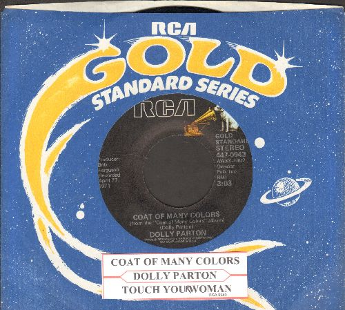 Parton, Dolly - Coat Of Many Colors/Touch Your Woman (double-hit re-issue with juke box label and company sleeve) - EX8/ - 45 rpm Records