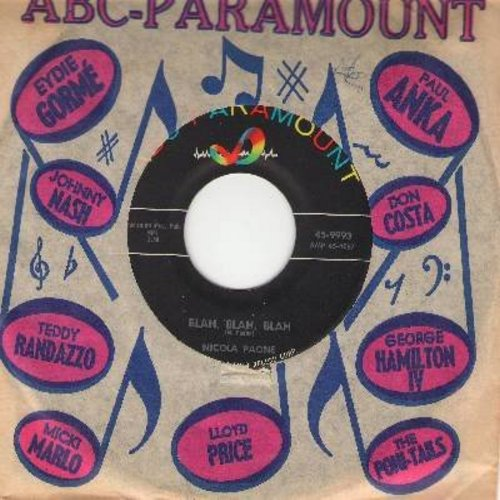 Paone, Nicola - Ciao, Bellezza (So Long, Beautiful)/Blah, Blah, Blah (with ABC-Paramount company sleeve) - NM9/ - 45 rpm Records