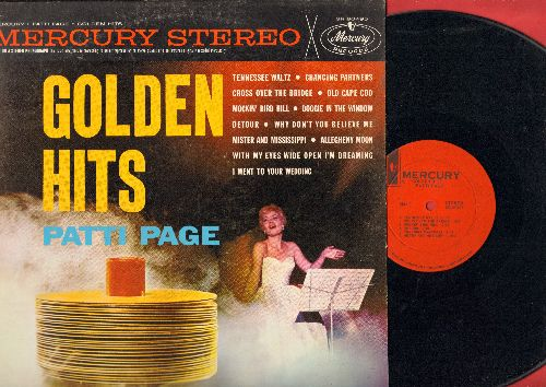 Page, Patti - Golden Hits: Tennessee Waltz, Cross Over The Bridge, Old Cape Cod, Doggie In The Window, Allegheny Moon (Vinyl STEREO LP record, red label 1960s pressing) - NM9/EX8 - LP Records