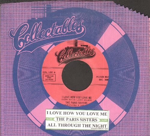 Paris Sisters - I Love How You Love Me/All Through The Night (pink label re-issue with juke box label and company sleeve) - NM9/ - 45 rpm Records