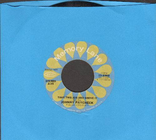 Paycheck, Johnny - Take This Job And Shove It/Slide Off Of Your Satin Sheets (double-hit re-issue) - NM9/ - 45 rpm Records