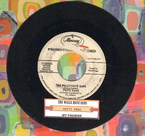 Page, Patti - The Walls Have Ears/My Promise (DJ advance pressing with juke box label) - VG7/ - 45 rpm Records