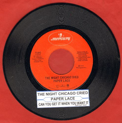 Paper Lace - The Night Chicago Died/Can You Get It When You Want It with juke box label) - NM9/ - 45 rpm Records
