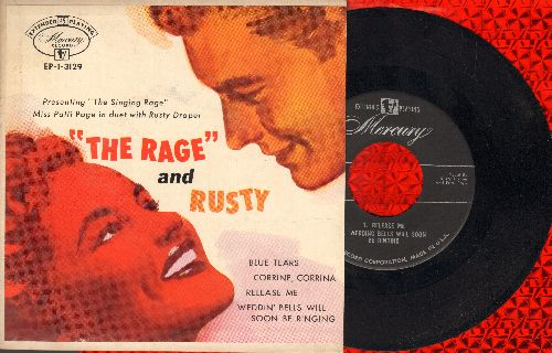 Page, Patty & Rusty Draper - The Rage And Rusty: Blue Tears/Corrine, Corrina/Release Me/Wedding Bells Will Soon Be Ringing (Vinyl EP record with picture cover) - NM9/EX8 - 45 rpm Records
