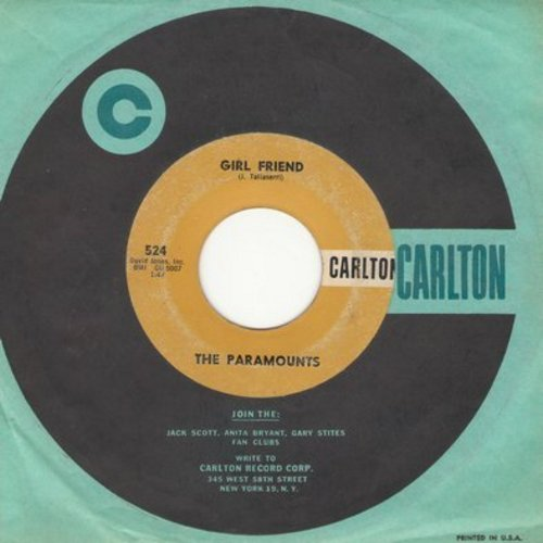 Paramounts - Girl Friend/Trying (with RARE vintage Carlton company sleeve) - VG6/ - 45 rpm Records
