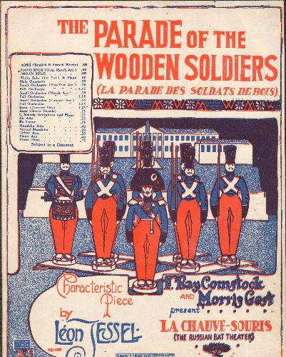Parade Of The Wooden Soldiers - Parade Of The Wooden Soldiers - Vintage SHEET MUSIC of the Standard, RARE red/blue tinted cover - (This is SHEET MUSIC, not any other kind of media) - EX8/ - Sheet Music