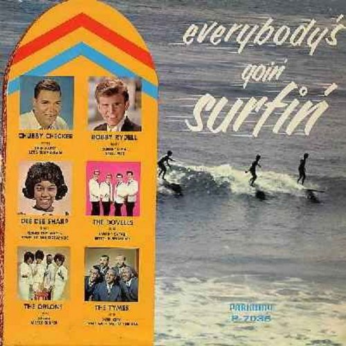 Checker, Chubby, Dovells, Dee Dee Sharp, Bobby Rydell, Orlons, Tymes - Everybody's Goin' Surfin': Surfin' U.S.A., Mister Surfer, Surfin' Safari, Let's Surf Again, Betty In Bermudas, Surf City (Vinyl MONO LP record) - NM9/EX8 - LP Records