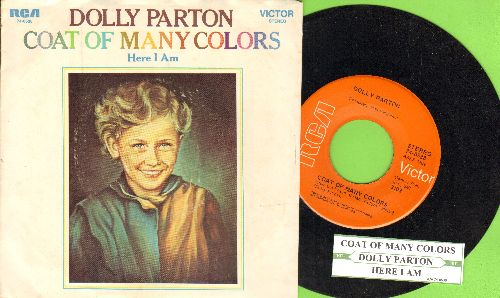 Parton, Dolly - Coat Of Many Colors/Here I Am (with picture sleeve and juke box label) - NM9/EX8 - 45 rpm Records