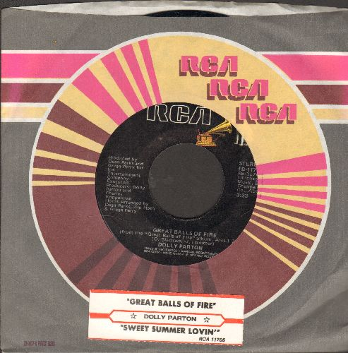 Parton, Dolly - Great Balls Of Fire/Sweet Summer Lovin' (with RCA company sleeve and juke box label) - NM9/ - 45 rpm Records