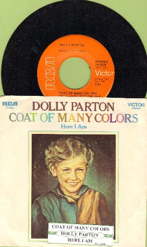 Parton, Dolly - Coat Of Many Colors/Here I Am (with RARE picture sleeve and juke box label) - NM9/EX8 - 45 rpm Records