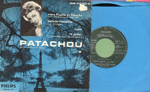 Patachou - Ballade Irlandaise/14 Juillet (Rendez-Vous De Paname)/Entre Pigalle Et Blanche/Vous (Vinyl EP record with picture cover, French Pressing, sung in French) - EX8/VG7 - 45 rpm Records