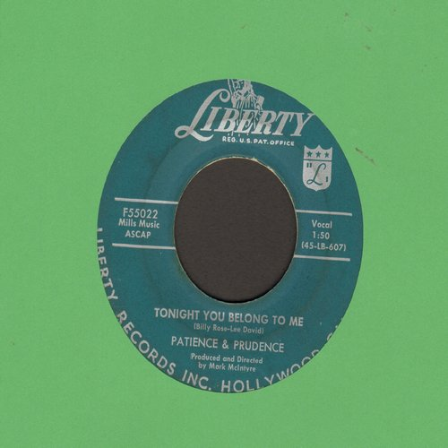 Patience & Prudence - Tonight You Belong To Me/A Smile And A Ribbon  - VG7/ - 45 rpm Records