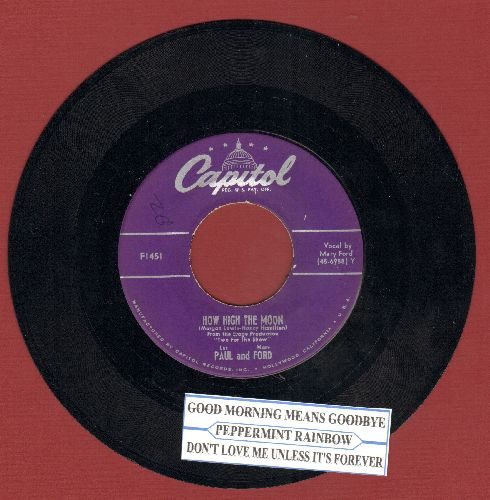 Paul, Les & Mary Ford - How High The Moon/Walkin' And Whistlin' Blues (with juke box label) - NM9/ - 45 rpm Records