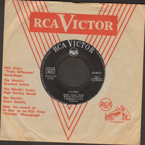 Pavone, Rita - Cuore (Heart)/Amore Twist (German Pressing, sung in Italian with RCA company sleeve) - NM9/ - 45 rpm Records