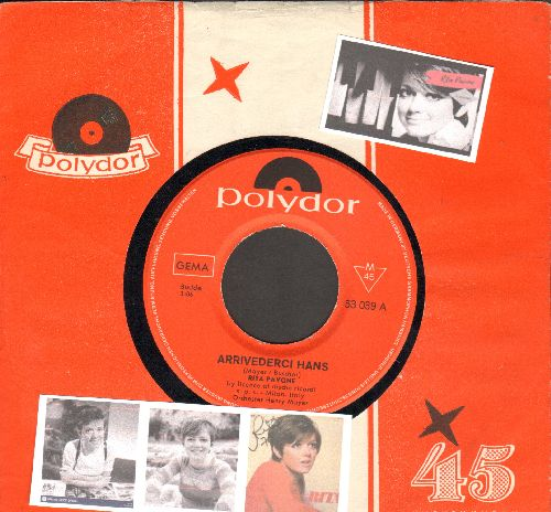 Pavone, Rita - Arrivederci Hans/Da sag ich nicht nein (German Pressing with Polydor company sleeve, sung in German) - NM9/ - 45 rpm Records