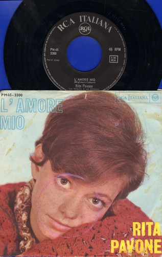 Pavone, Rita - L'Amore Mio (Remember Me?)/San Francisco (Italian Pressing with picture sleeve, sung in Italian) - NM9/VG7 - 45 rpm Records