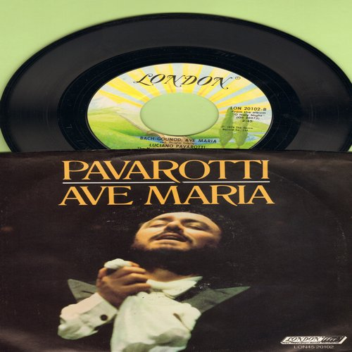 Pavarotti, Luciano - Ave Maria (Schubert & Bach-Gounod versions, with picture sleeve) - M10/EX8 - 45 rpm Records