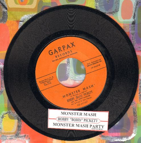 Pickett, Bobby (Boris) & The Crypt Kickers - Monster Mash/Monster's Mash Party (ORANGE  Garpax Label first issue with juke box label) (minor wol) - EX8/ - 45 rpm Records