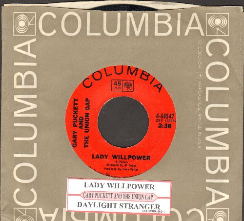 Puckett, Gary & The Union Gap - Lady Willpower/Daylight Stranger (with juke box label and Columbia company sleeve) - NM9/ - 45 rpm Records