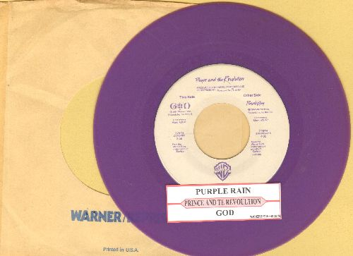 Prince - Purple Rain/GOD (PURPLE vinyl pressing with juke box label and Warner Brothers company sleeve) - VG7/ - 45 rpm Records