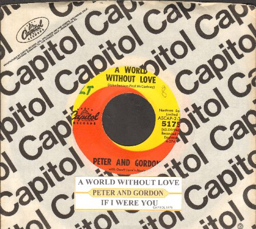 Peter & Gordon - A World Without Love/If I Were You (with juke box label and Capitol company sleeve) - NM9/ - 45 rpm Records