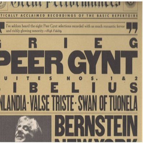 Bernstein, Leonard & New York Philharmonic - Bernstein Conducts Grieg: Peer Gynt Suites 1 & 2, Finlandia, Valse Triste, Swan Of Tuonela (Vinyl STEREO LP record) - NM9/NM9 - LP Records