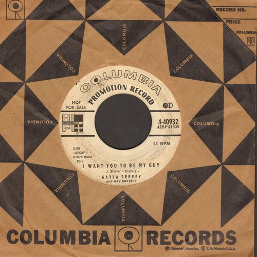 Peevey, Gayla - I Want You To Be My Guy/Too Young To Have A Broken Heart (DJ advance pressing with vintage Columbia company sleeve) - VG7/ - 45 rpm Records
