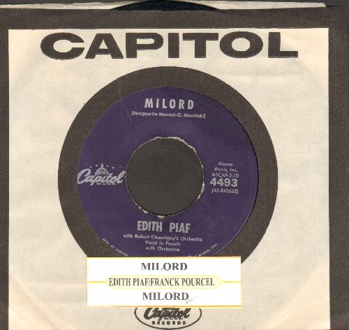 Piaf, Edith - Milord/Milord by Franck Pourcel & His Orchestra on flips-side (purple label first pressing with juke box label and Capitol company sleeve) - VG7/ - 45 rpm Records
