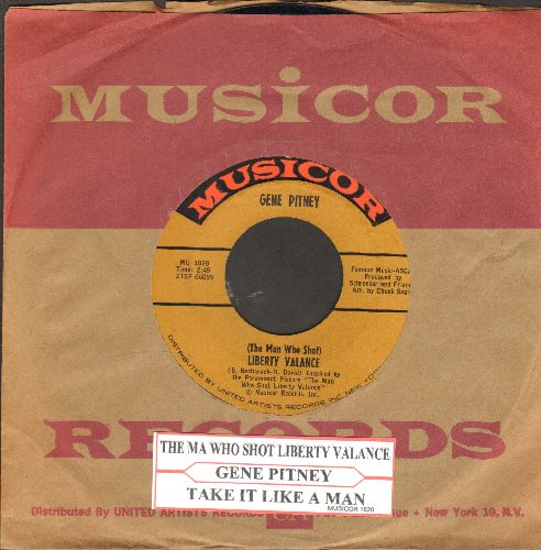 Pitney, Gene - The Man Who Shot Liberty Valence/Take It Like A Man (with juke box label and vintage Musicor company sleeve) - NM9/ - 45 rpm Records