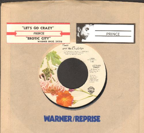 Prince - Let's Go Crazy/Erotic City (with juke box label and Warner Brothers company sleeve) - NM9/ - 45 rpm Records