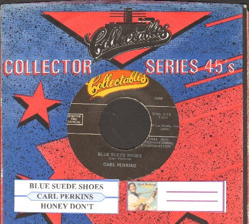 Perkins, Carl - Blue Suede Shoes/Honey Don't (double-hit re-issue with juke box label and company sleeve) - NM9/ - 45 rpm Records